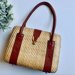 Vintage | Large Hardcase Wicker Purse